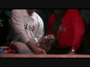Apollo Creed after a life ending blow by the bad guy...